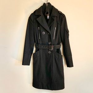 Miss Sixty Long Black Military Inspired Coat